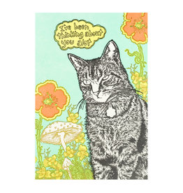 Old School Stationers I've Been Thinking About You Cat & Flowers Letterpress Card