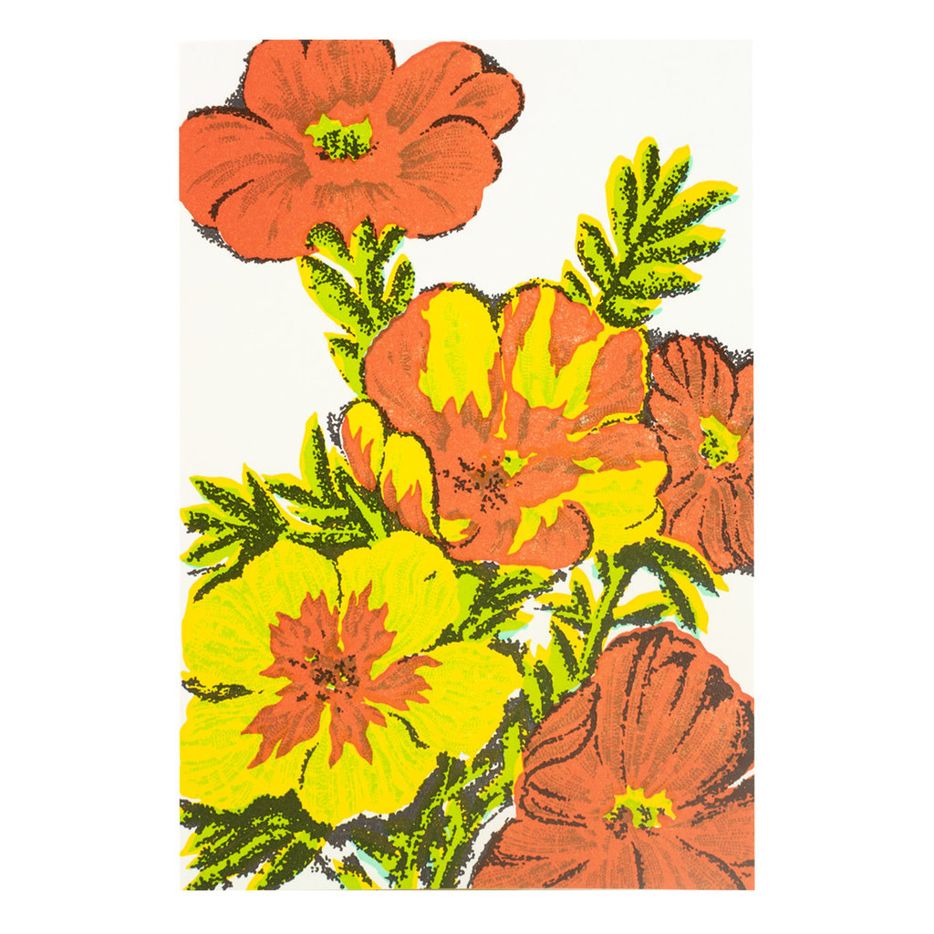 Old School Stationers Poppies Letterpress Card