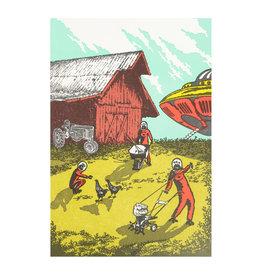 Old School Stationers Aliens on the Farm Letterpress Card