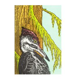 Old School Stationers Woodpecker in Cedar Trees Letterpress Card