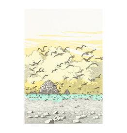 Old School Stationers Beach & Seagulls Letterpress Card