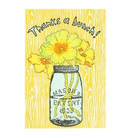 Old School Stationers Thanks a Bunch Jar & Flowers Letterpress Card