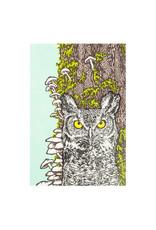 Old School Stationers Owl & Mushrooms Letterpress Card
