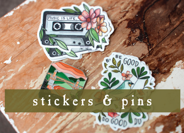 stickers and pins