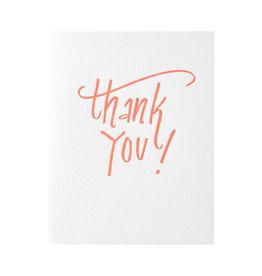 Color Box Design & Letterpress Thank You Orange Letterpress Card