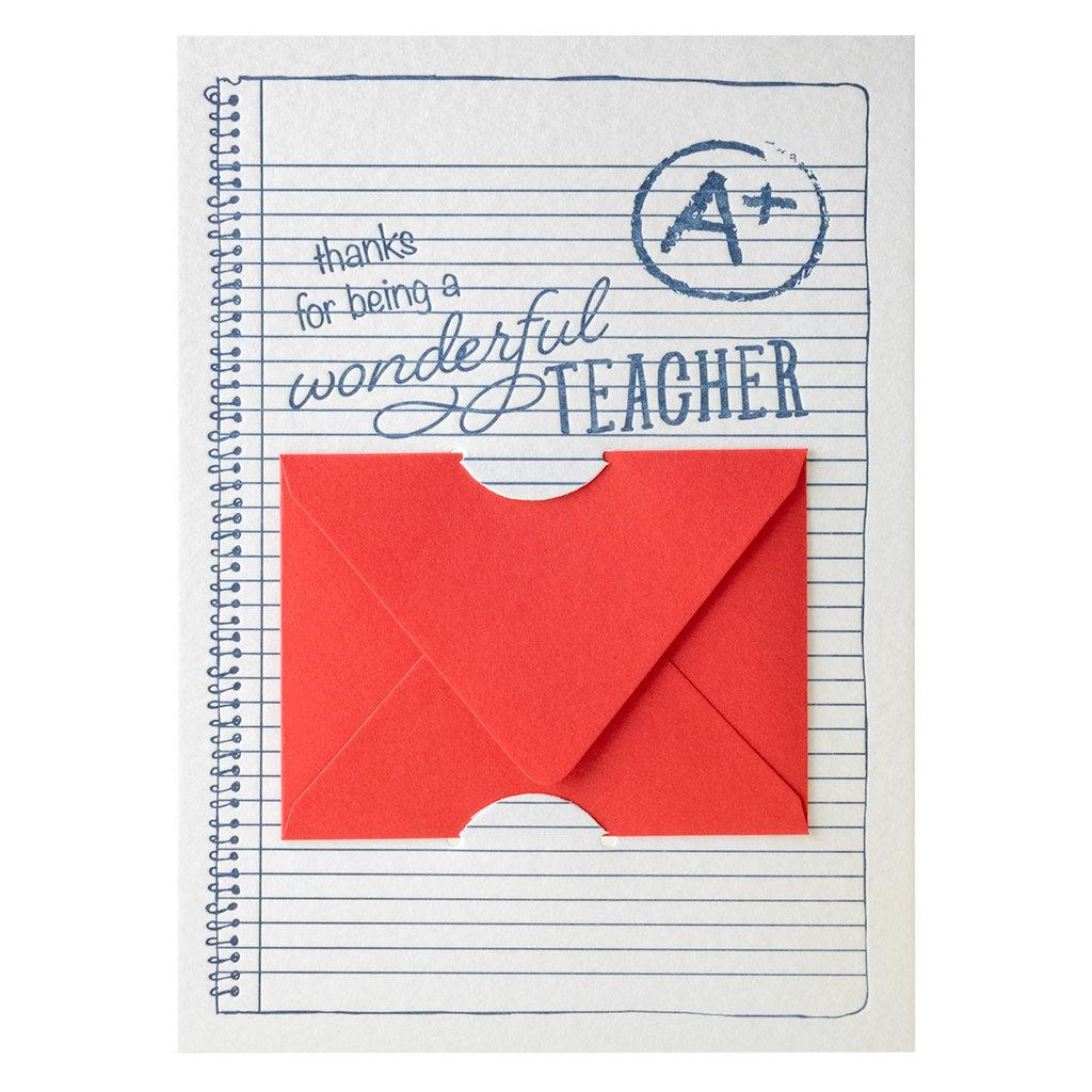 Color Box Design & Letterpress Teacher Letterpress Gift Card Holder