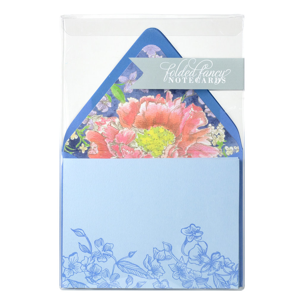 Color Box Design & Letterpress Peony Letterpress Folded Notes Set of 6
