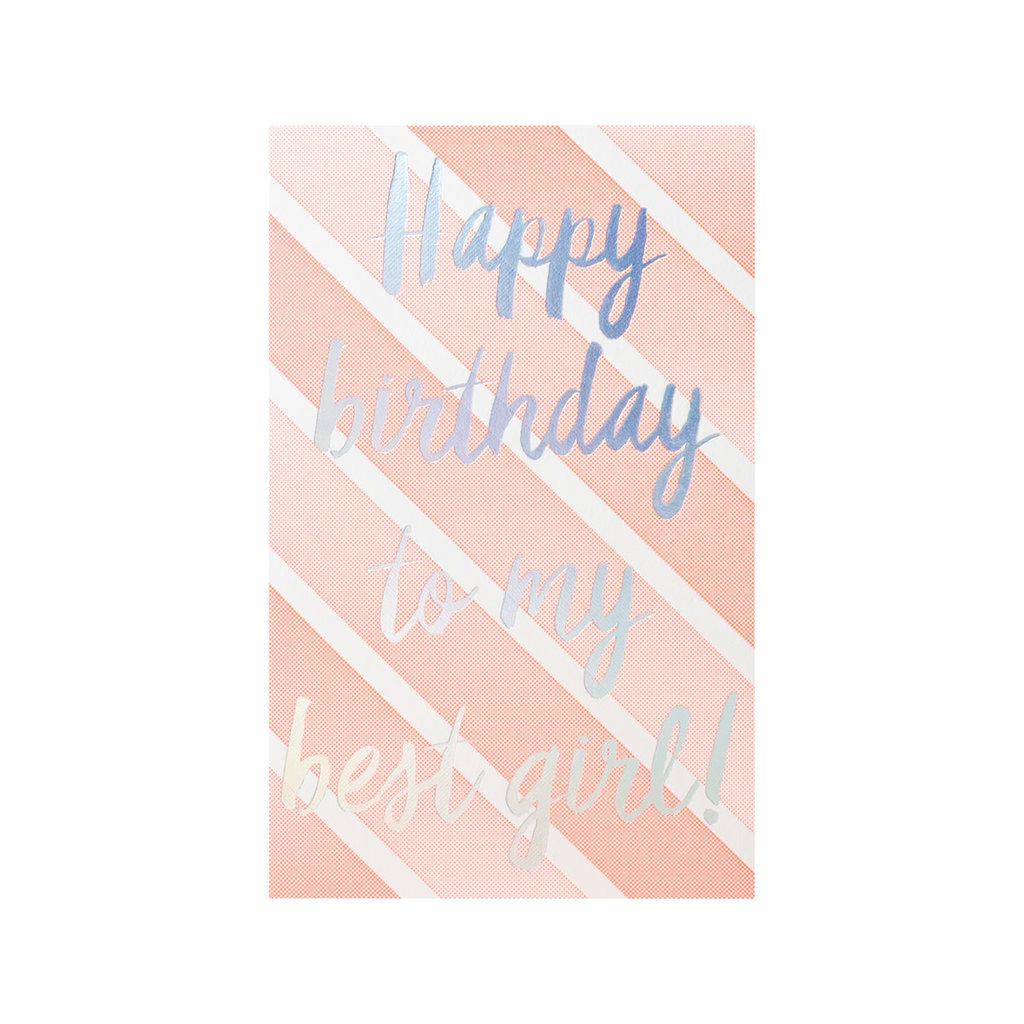 Anemone Letterpress Best Girl Birthday Letterpress Card