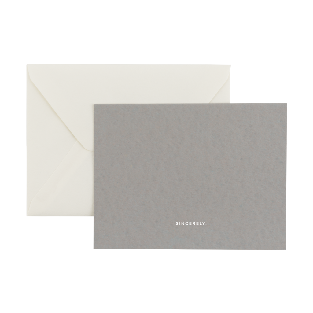 Appointed Sincerely Notecards Smoke Gray box of 6