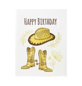 Lucky Bee Press Happy Birthday Cowboy Letterpress Card