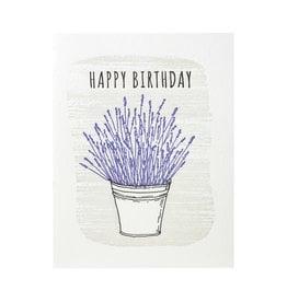 Lucky Bee Press Happy Birthday Lavender Letterpress Card