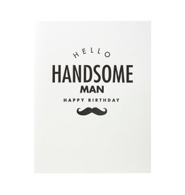 Lucky Bee Press Happy Birthday Handsome Mustache Letterpress Card