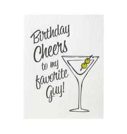 Lucky Bee Press Happy Birthday Cheers Martini Letterpress Card