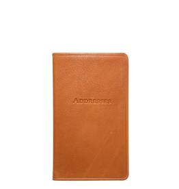 """Graphic Image 5"""" Pocket Leather Address Book - Tan"""