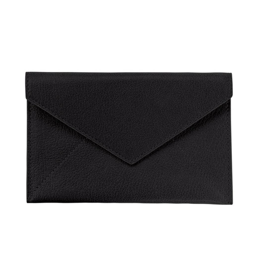 Graphic Image Medium Leather Envelope - Black