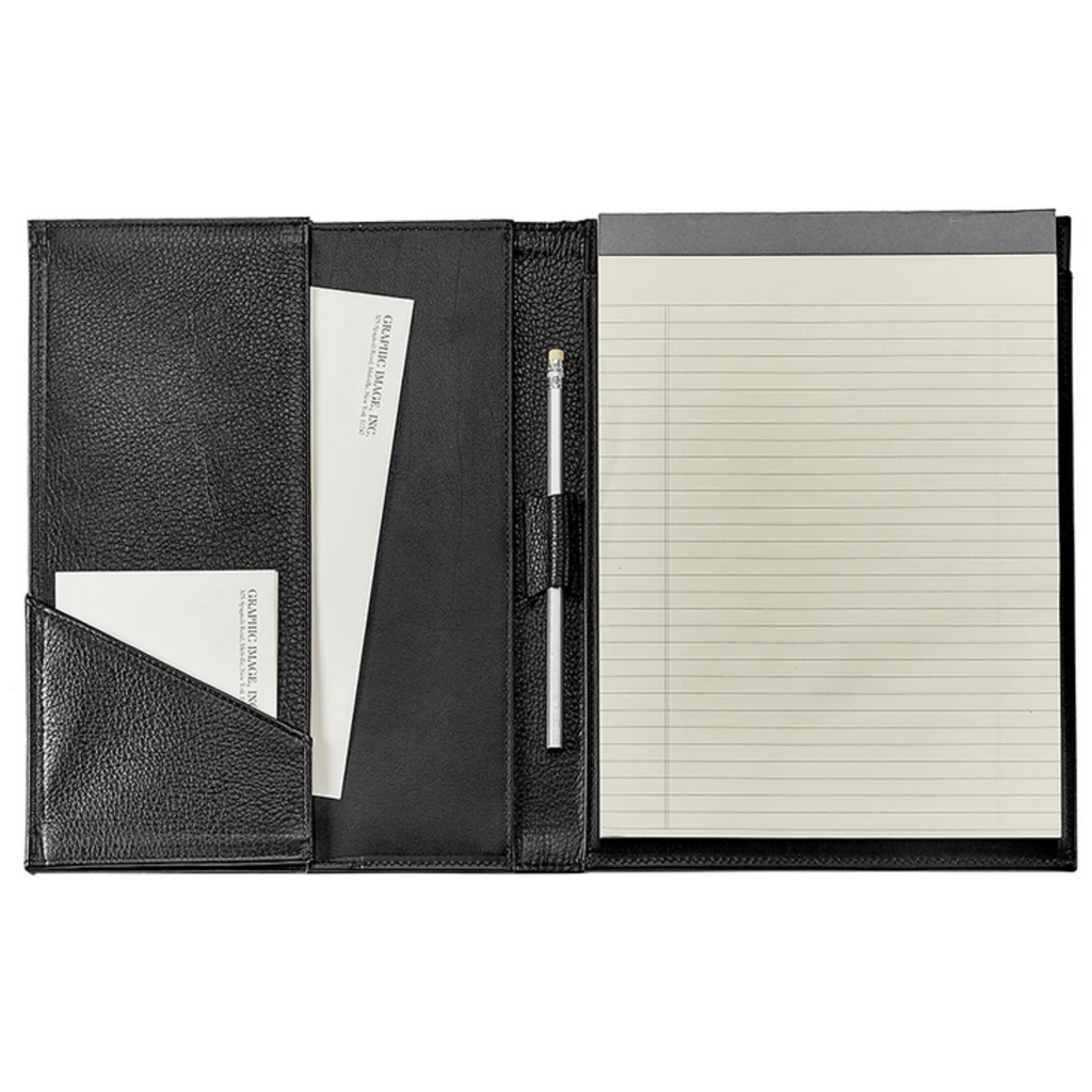 Graphic Image Gusseted Letter Portfolio - Black Leather