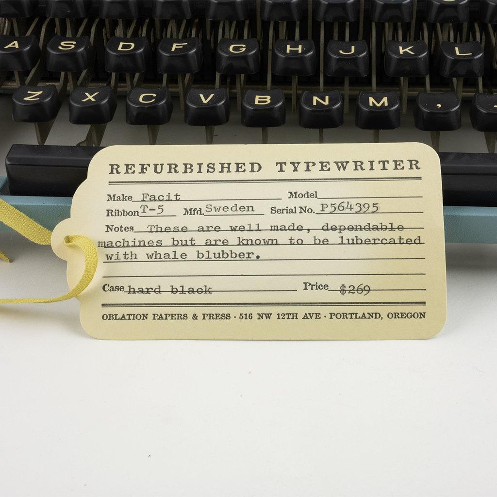 Blue Facit Typewriter