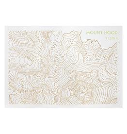 Green Bird Press Mt. Hood Topographic Map Letterpress Postcard