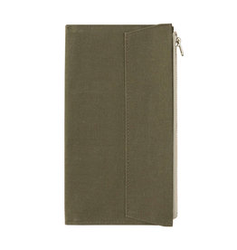 Traveler's Company Traveler's Factory Olive Paper Cloth Zipper Pouch