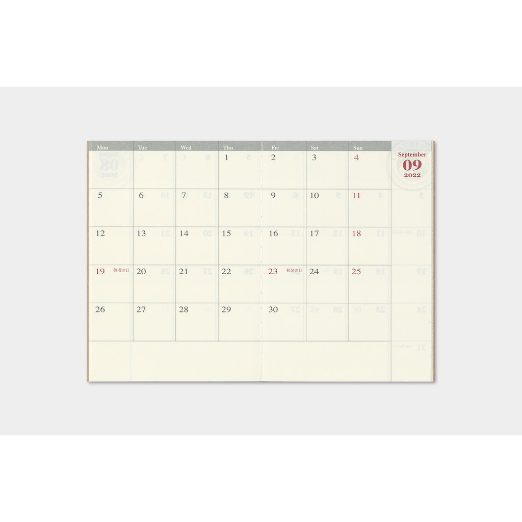 Traveler's Company Traveler's Notebook 2022 Refill Monthly Passport