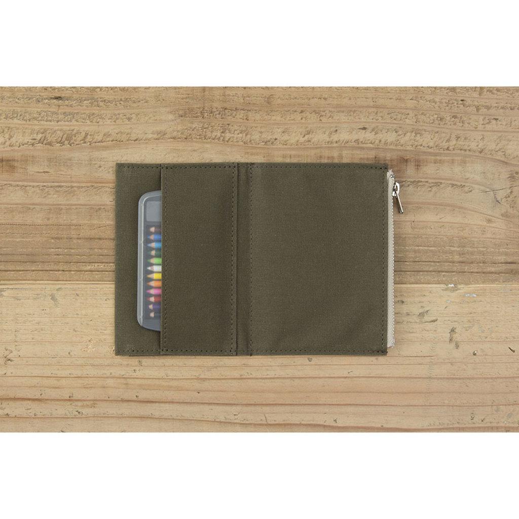 Traveler's Company Traveler's Factory Olive Paper Cloth Zipper Pouch Passport