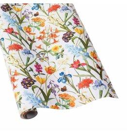 Caspari Redoute Floral White Gift Wrap Roll