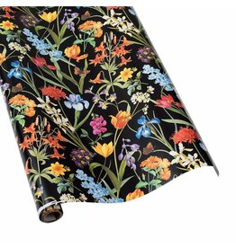 Caspari Redoute Floral Black Gift Wrap Roll