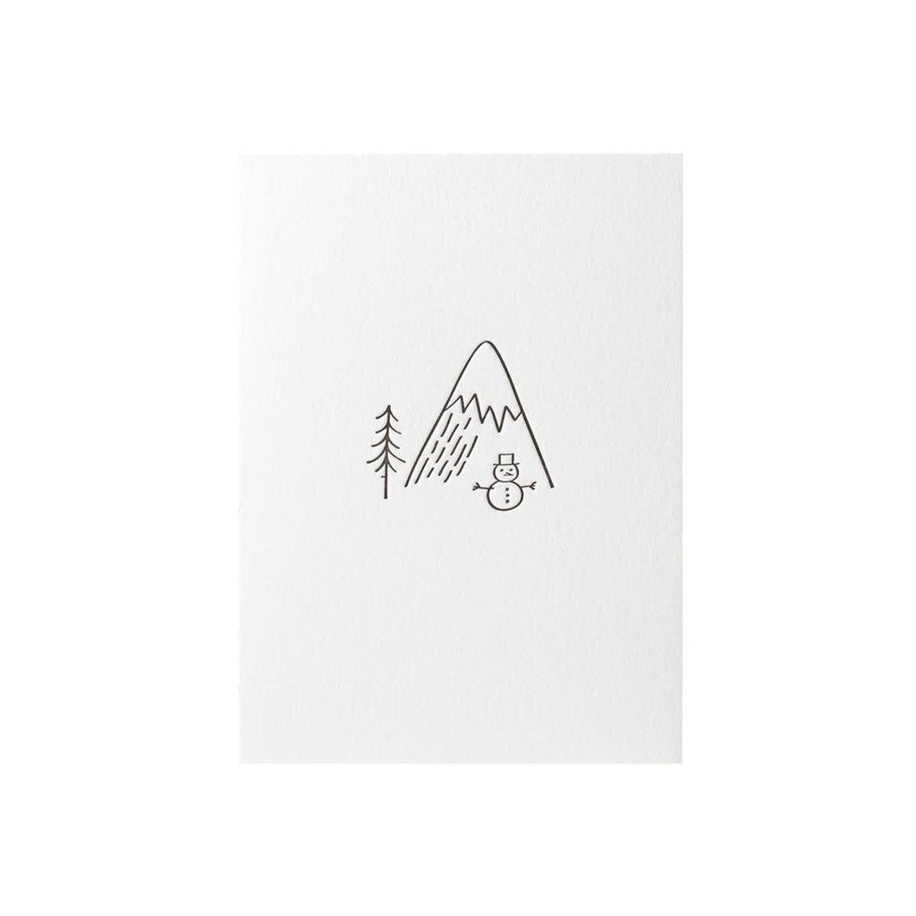 Green Bird Press Minimal Adventure Snowman Letterpress Card