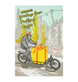 Old School Stationers Seasons Greetings Portland Sasquatch on Bike Letterpress Card