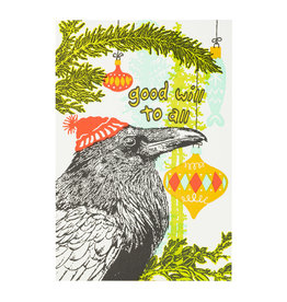 Old School Stationers Raven and Ornaments Goodwill to All Letterpress Card