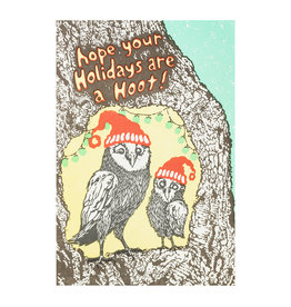 Old School Stationers Owls in Tree Hoot Holidays Letterpress Card