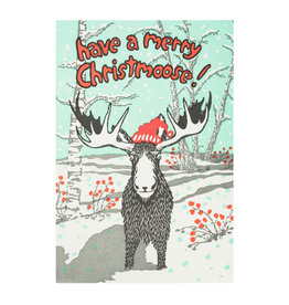 Old School Stationers Merry Christmoose Letterpress Cards Box of 6