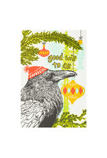 Old School Stationers Raven and Ornaments Goodwill to All Letterpress Cards Box of 6