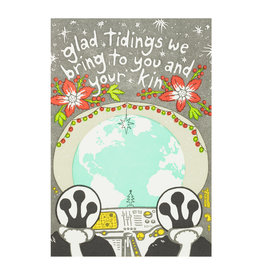 Old School Stationers Aliens Glad Tidings Letterpress Cards Box of 6