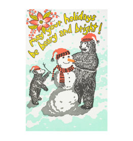 Old School Stationers Beary and Bright Holiday Letterpress Cards Box of 6