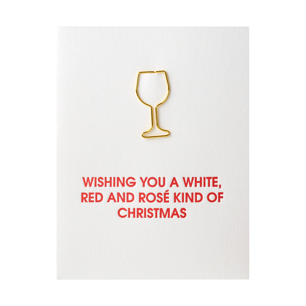 Chez Gagne Wishing you a White Wine with Paper Clip Letterpress Card
