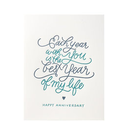 Ink Meets Paper Each Year With You Anniversary Letterpress Card