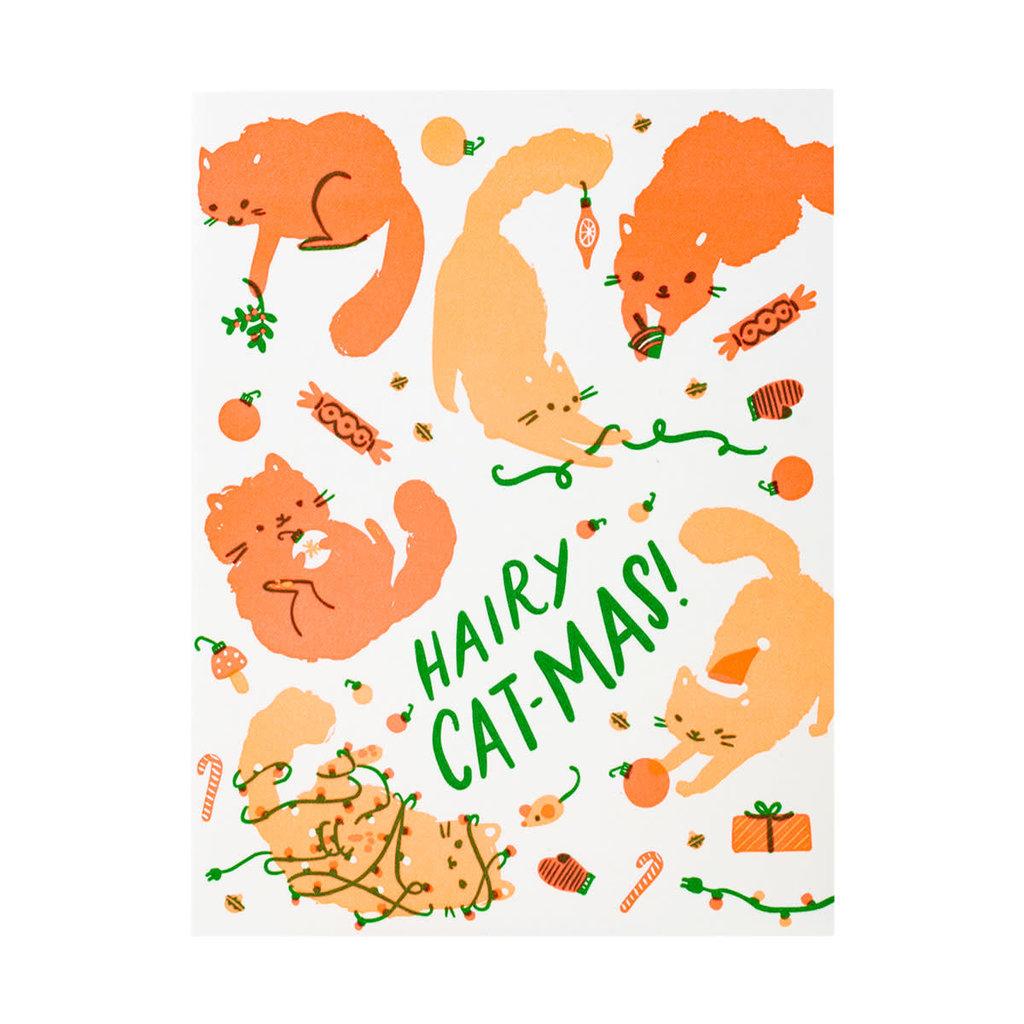 Hello! Lucky Hairy Cat-mas Letterpress Card