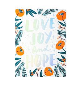 Hello! Lucky Love, Joy, & Hope Letterpress Card
