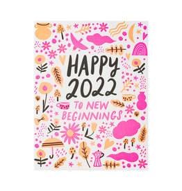 Hello! Lucky New Beginnings Letterpress Card