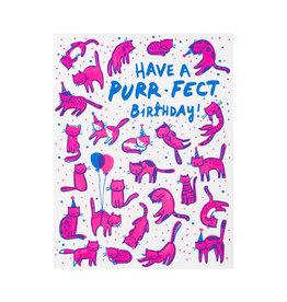 Hello! Lucky Purr-fect Birthday Letterpress Card
