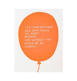 Ashkahn Birthday Balloon Letterpress Card