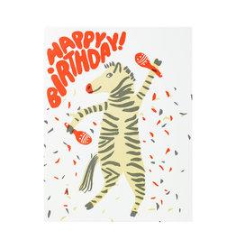 Egg Press Party Zebra Letterpress Card