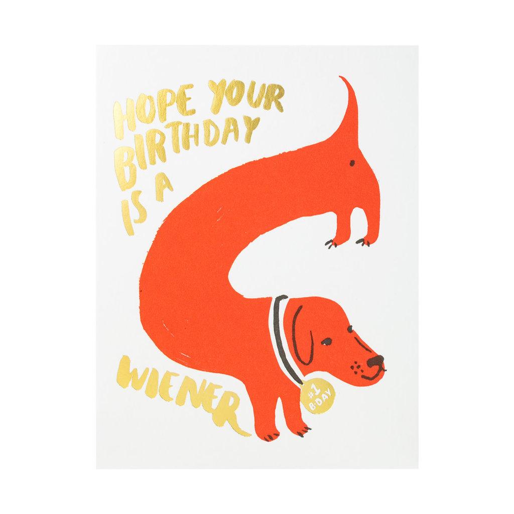 Egg Press Wiener Dog Birthday Letterpress Card