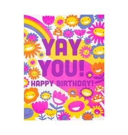Hello! Lucky Yay You Birthday Letterpress Card