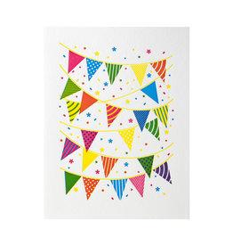 Lickety Split Press Pennants Party Letterpress Card