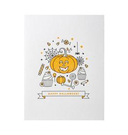 Lickety Split Press Halloween Trick or Treat Letterpress Card