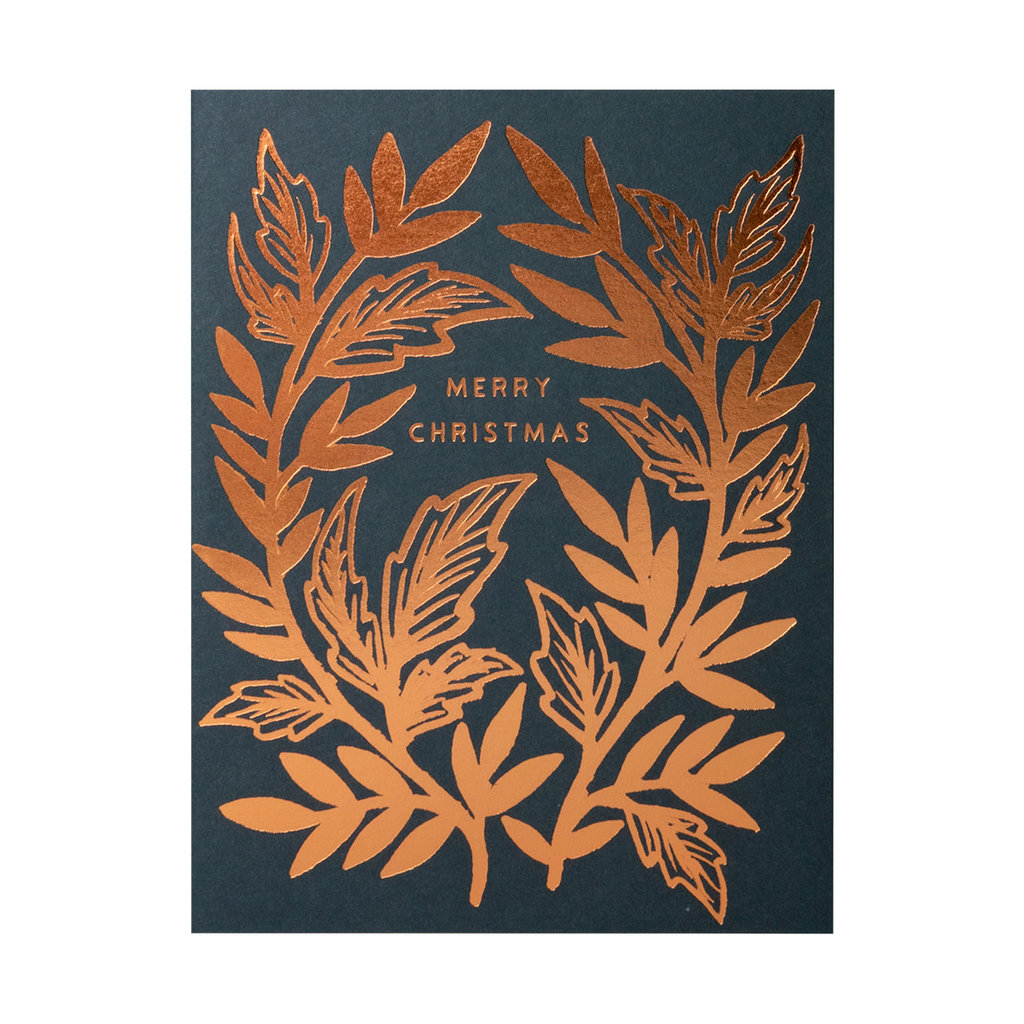 Katharine Watson Merry Christmas Copper Foil Stamped Cards Box of 6