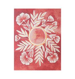 Katharine Watson Happy Holidays Crimson Flower Cards Box of 6