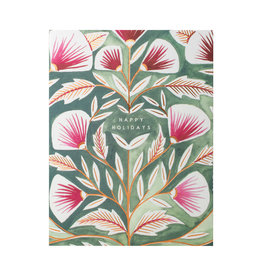 Katharine Watson Happy Holidays Pink Flowers on Blue Cards Box of 6